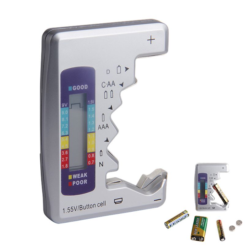 Testeur de batterie numérique testeur de capacité de batterie pour C/D/9 V/AA/AAA/1.5 V Instrument de mesure d'alimentation au Lithium