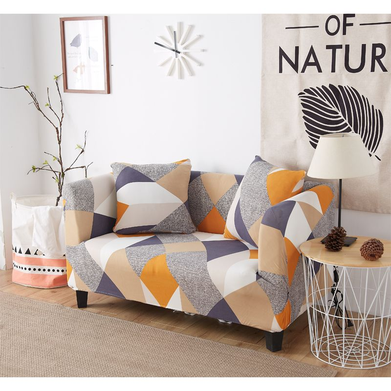 Spandex Elastic Stretch Geometic Printing Sectional Sofa Cover Protective Slipcovers All-inclusive Couch Case Cover Living Room