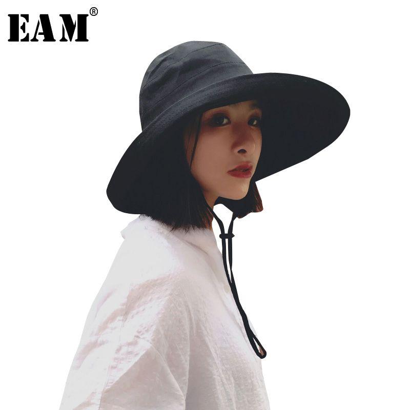 [EAM] 2018 New Summer Fashion Tide <font><b>Foldable</b></font> Cap Sun Hat Woman Fisherman Hat Aimple All-match Woman Dome Hat S963