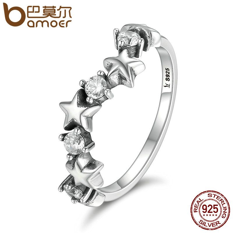 BAMOER High Quality 100% 925 Sterling Silver Sparking Star Luminous CZ Finger Rings for Women Sterling Silver Jewelry SCR169