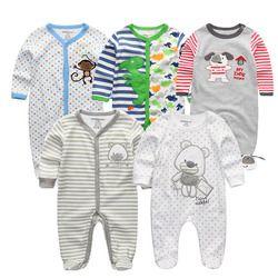2018 5 PCS/lot nouveau-né bébé barboteuses pleine Manches longues Coton salopette O-cou 0-12 M bébé vêtements vêtements