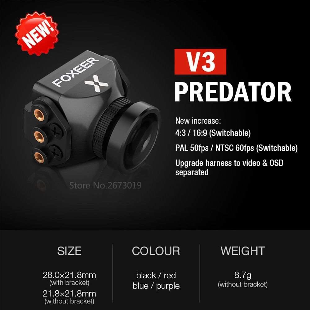 New Foxeer Predator V3 Camera Racing FPV Drone Cameras16:9/4:3 PAL/NTSC switchable Super WDR OSD 4ms Latency Upgarded PredatorV2