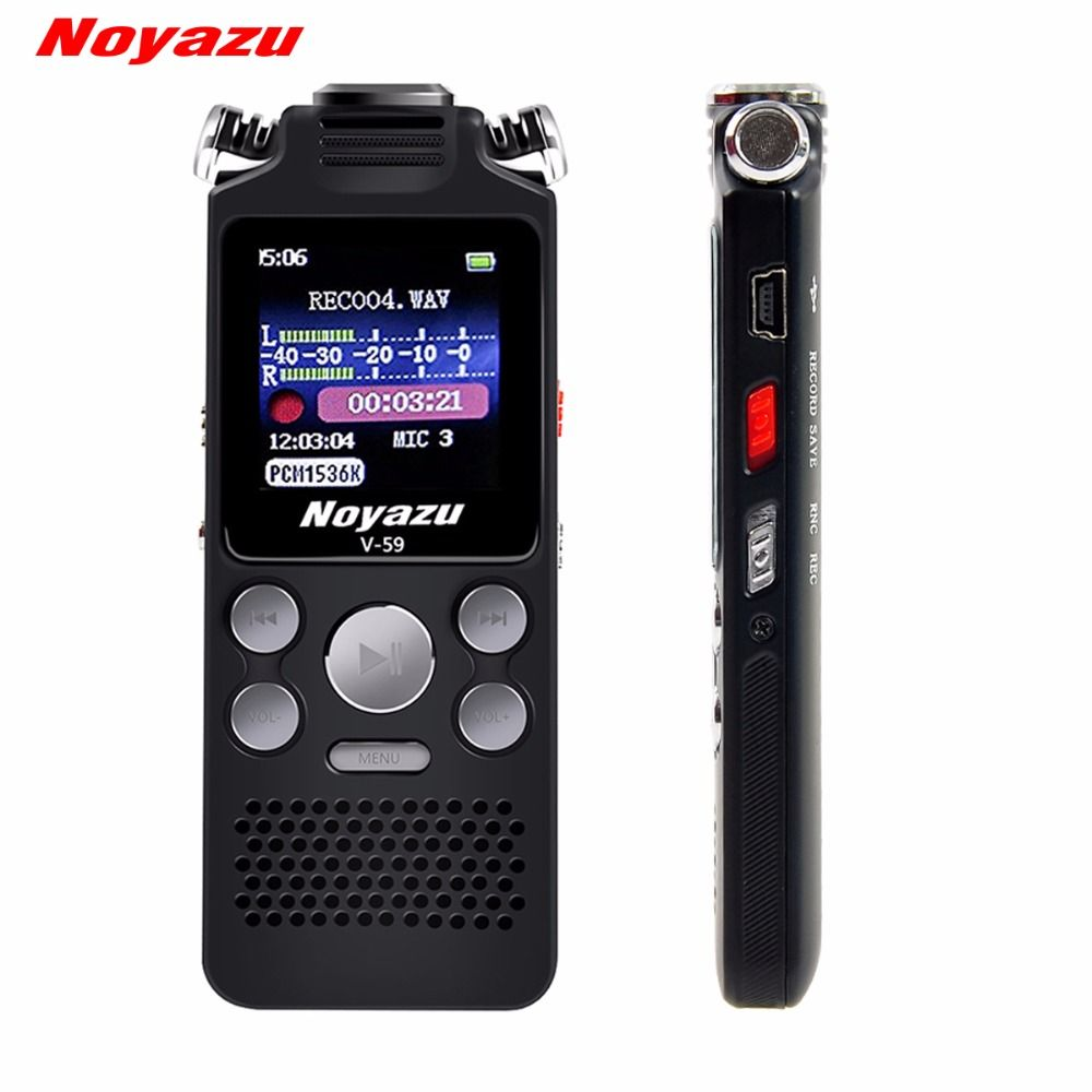 NOYAZU V59 8GB Audio Sound Digital Voice Recorder Portable Rechargeable Dictaphone Recorder Voice Activated Recorder Dictaphone
