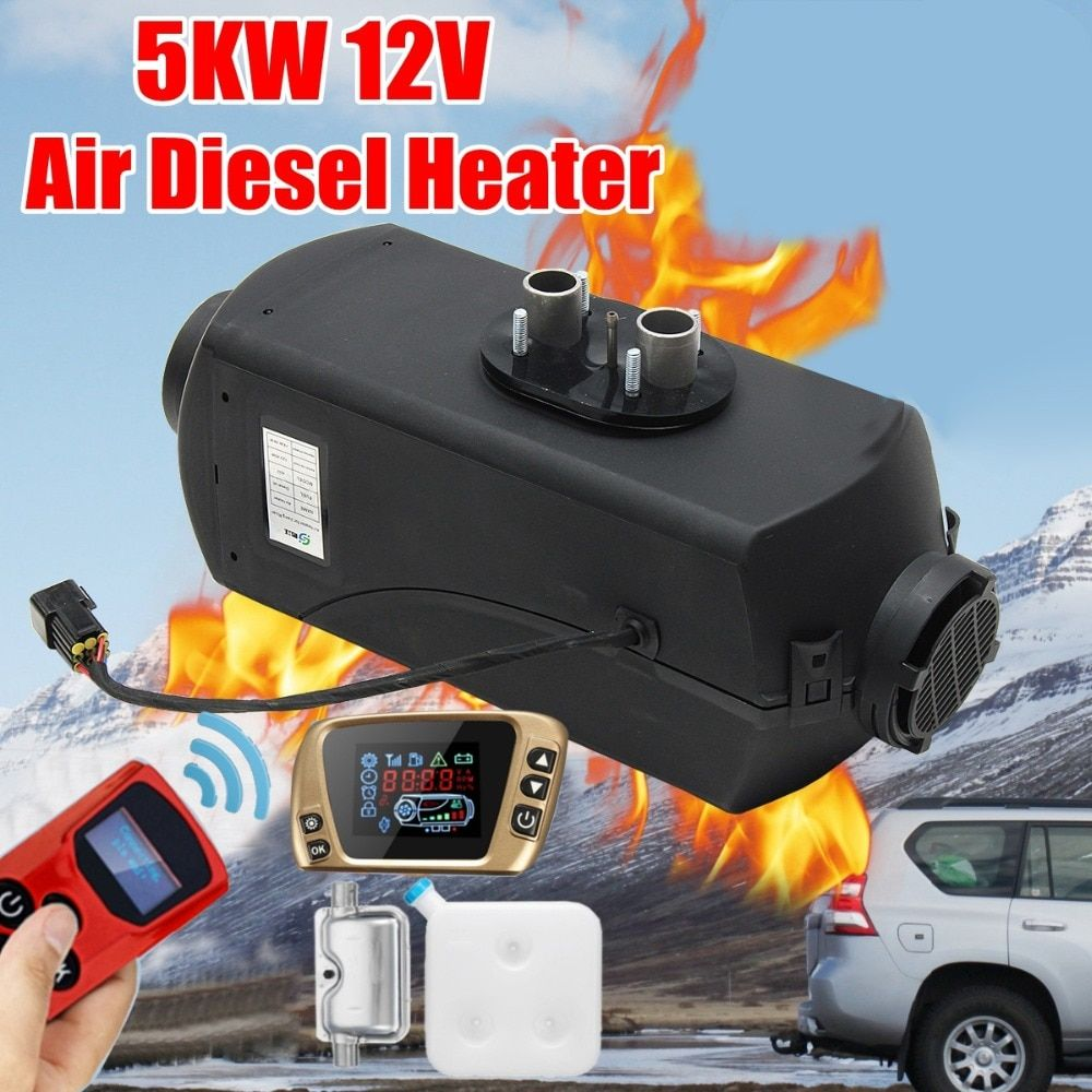 12V 5KW Car Parking Air Diesels Fuel Heater LCD Switch 5000W Car Heater for RV Boats Motorhome Trucks Trailer +Remote + Silencer