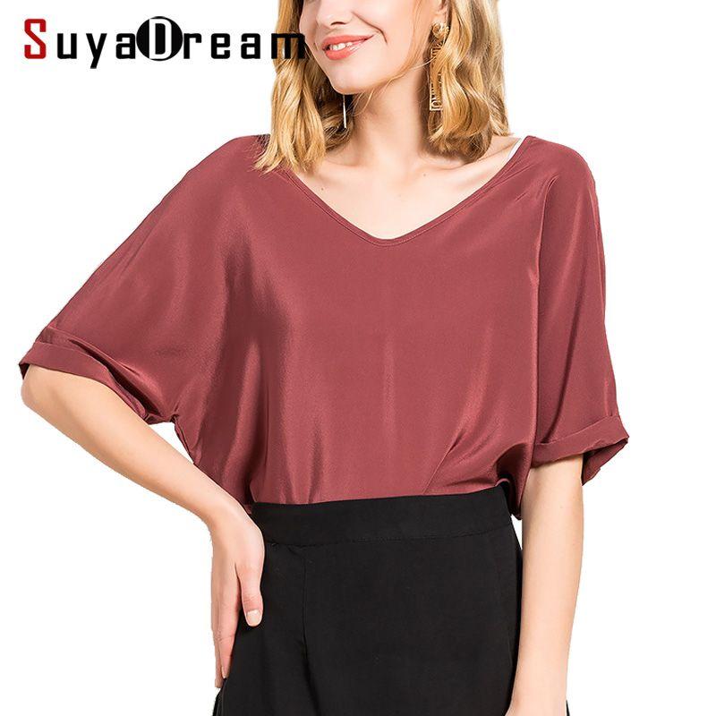 Women Silk T SHIRT Half sleeve V neck 100% Natural silk casual shirt Blusas femininas 2017 Summer Bottoming shirt New
