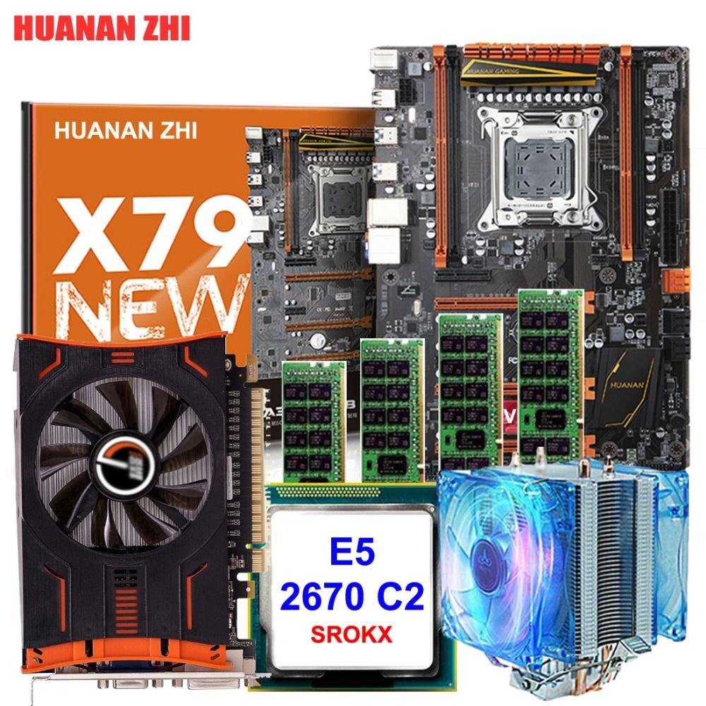 HUANAN ZHI deluxe X79 motherboard Intel Xeon E5 2670 C2 SROKX with cooler RAM 16G(4*4G) DDR3 RECC Video card GTX650Ti 2G DDR5