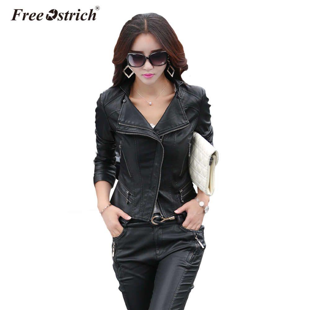 Free Ostrich Pu Leather Jacket 2018 Autumn Fashion Women's Ruffles Diamonds Zipper Black Short Ladies Basic Jackets Coats D40