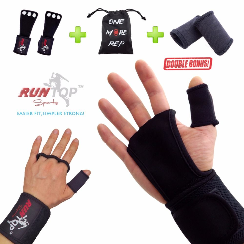 RUNTOP Crossfit WODS Training Gloves Grip Pad Workout <font><b>Weight</b></font> Lifting Leather Hand Palm Protect Wrist Wrap Brace Support Straps