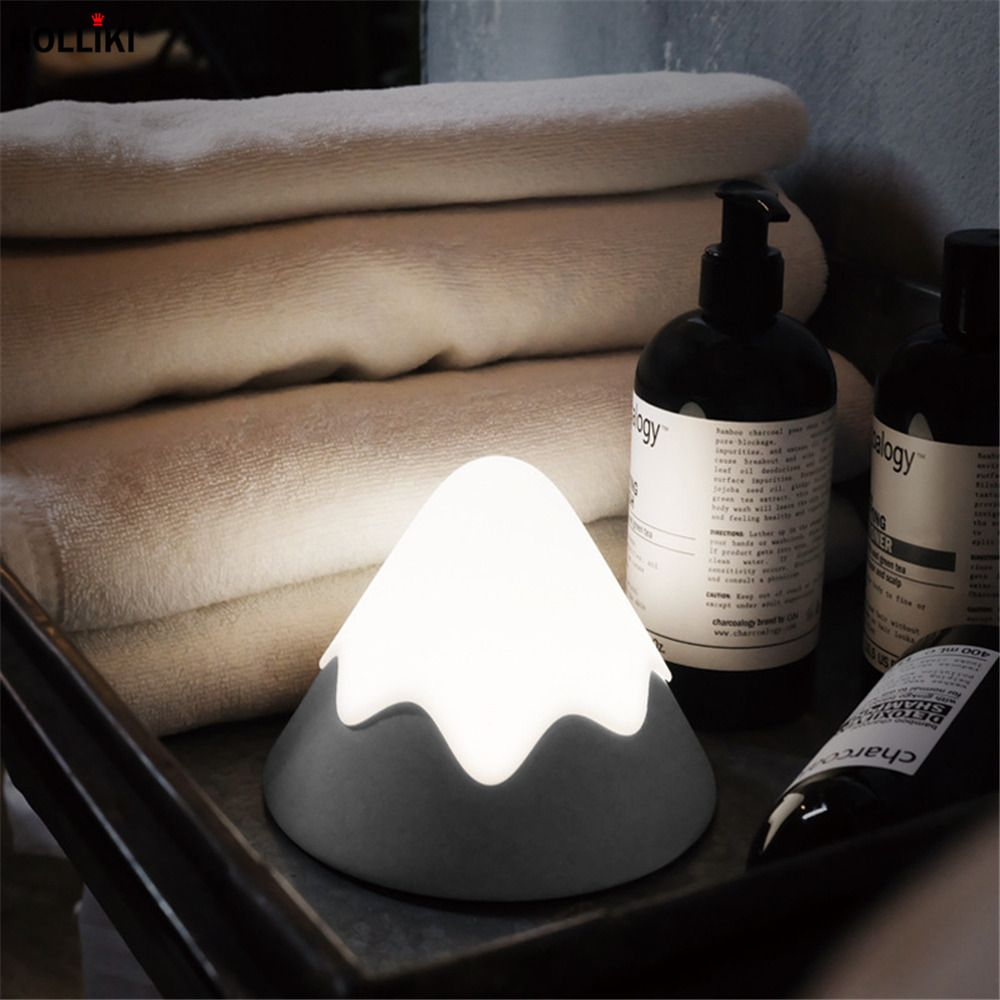 Unique LED Snow Mountain Voice Sensor Table Lamp USB Rechargeable Dimmer Night Lamps For Baby Bedroom Christmas Decor Kids Gift