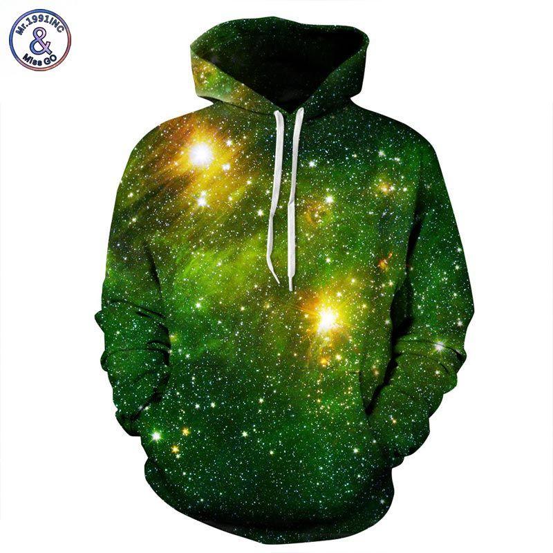 Mr.1991INC Space Galaxy 3d Sweatshirts Men/Women Hoodies With Hat Print <font><b>Stars</b></font> Nebula Autumn Winter Loose Thin Hooded Hoody Tops
