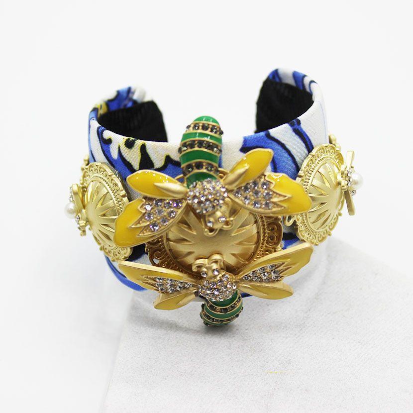 2016 модные барокко резные Азии Золотая Пчела петлицы женский браслет Залп кристалл цветок браслет женский 1346