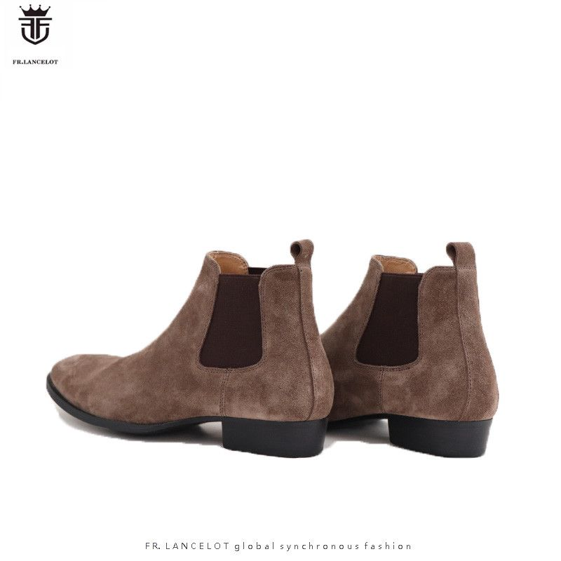 FR.LANCELOT Luxury Brand Real Suede Shallow Men Ankle Boots Low Heels Chelsea Boots Elasticity Zapatos Booties for Men Shoes