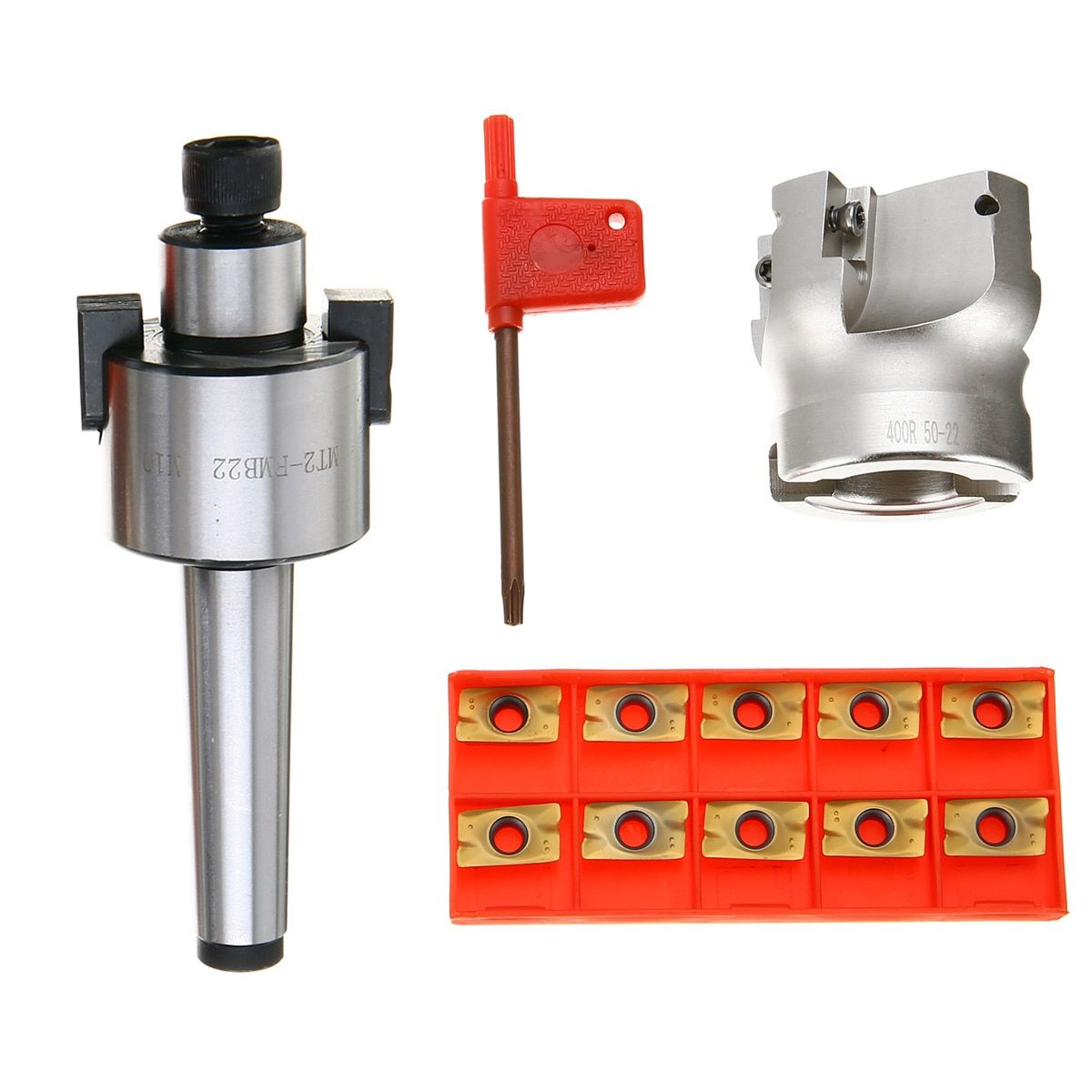 MT2 400R 50mm Face End Mill Cutter 4 Flutes + 10pcs APMT1604 Carbide Inserts with Wrench For Power Tool