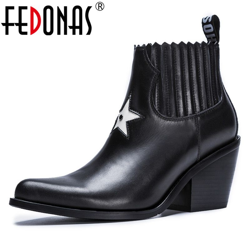 FEDONAS Brand 2019 Women Ankle Boots Sexy Pointed Toe Martin Shoes Woman High Quality Night Club Pumps Ladies Basic Boots