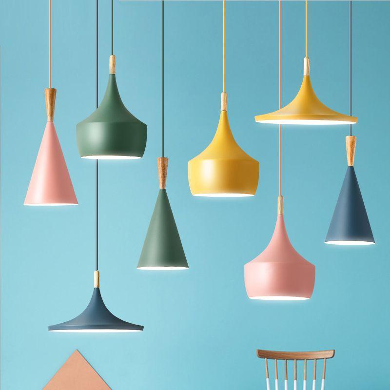 Pente éclairage intérieur pente pendentif lumières bois et aluminium lampe restaurant bar café salle à manger LED luminaire suspendu