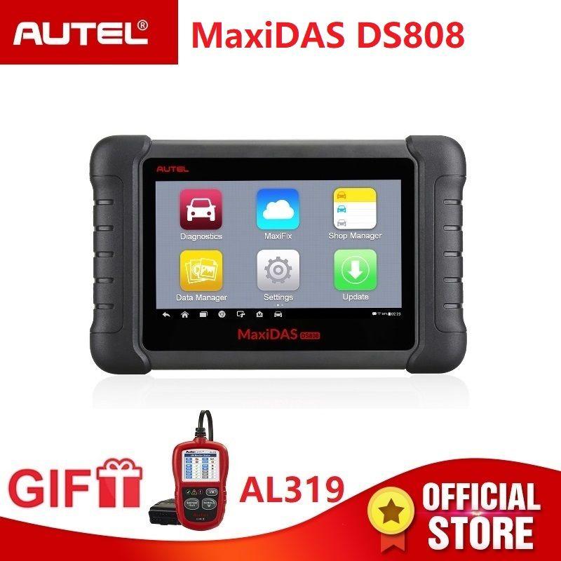 Autel Maxidas DS808 Diagnose Scanner OBD2 automotive Werkzeug OBDII schlüssel codierung PK Autel Maxisys MS906 MK808 code reader Geschenk AL319