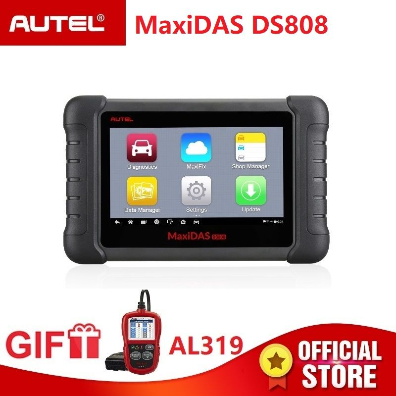 Autel Maxidas DS808 Diagnostic Scanner OBD2 automotive Tool OBDII key coding PK Autel Maxisys MS906 MK808 code reader Gift AL319