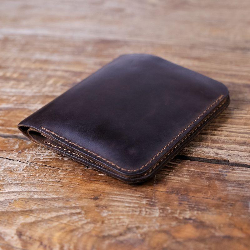 Portefeuille en cuir pour Hommes Petit Sac D'argent Rétro Style Crazy Horse Carte de Crédit En Cuir Wallet Bourse Hommes Poche Avant portefeuille