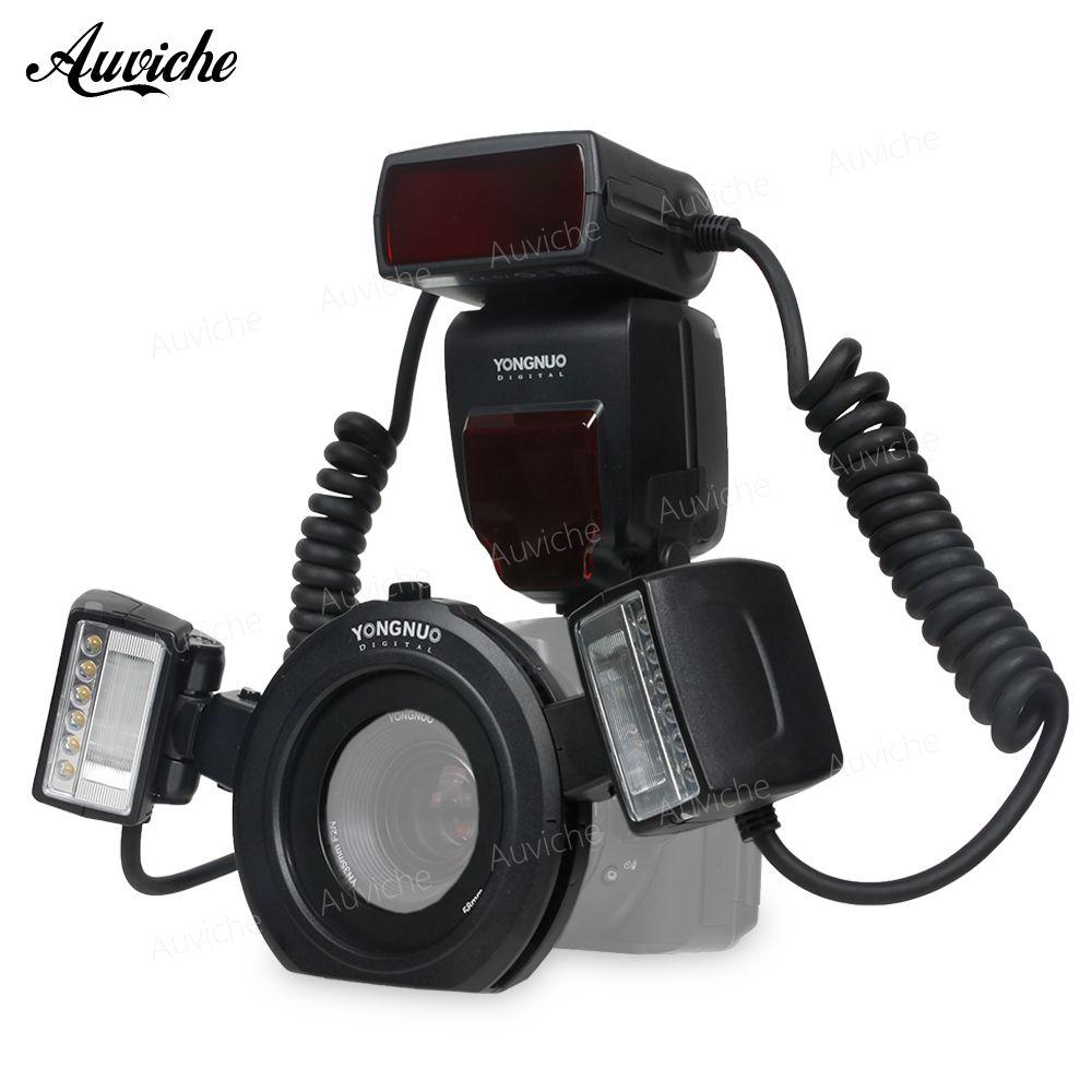 Yongnuo YN24EX E-TTL Macro Flash Speedlite for Canon EOS 1Dx 5D3 6D 7D 70D 80D Cameras with 2pcs Flash Head + 4pcs Adapter Rings