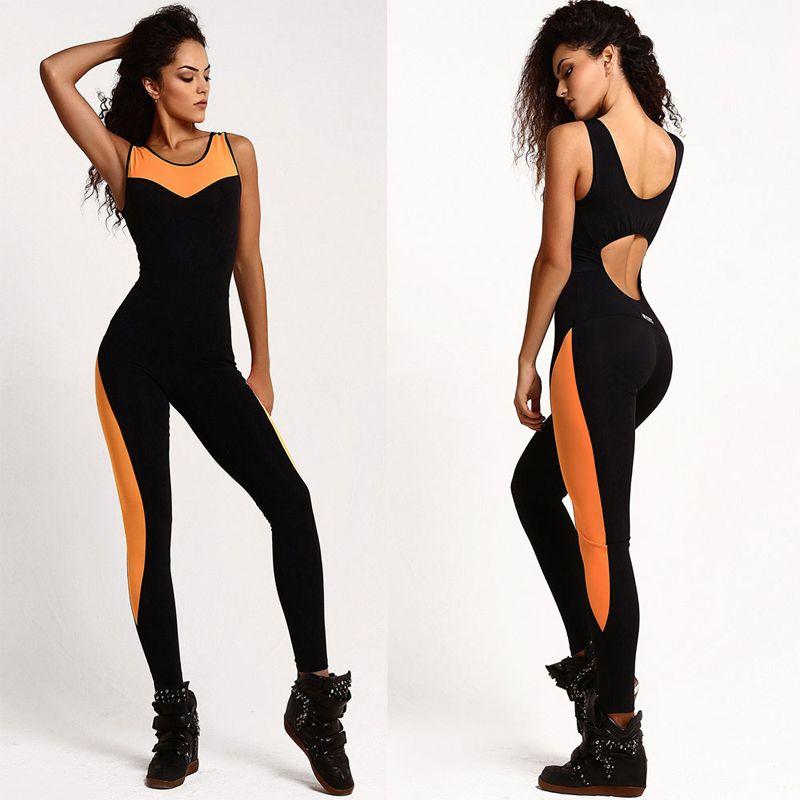 2018 femmes Sport costume maille body femmes Yoga Long pantalon Sexy combinaison femmes barboteuse dos nu une pièce course ensemble survêtement