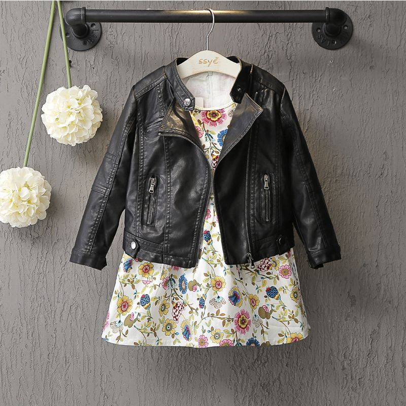DreamShining New Baby Girls <font><b>Clothes</b></font> Long Sleeve Kids Jacket Fashion PU Leather Children Outwear Spring Coat Solid Girl Jackets
