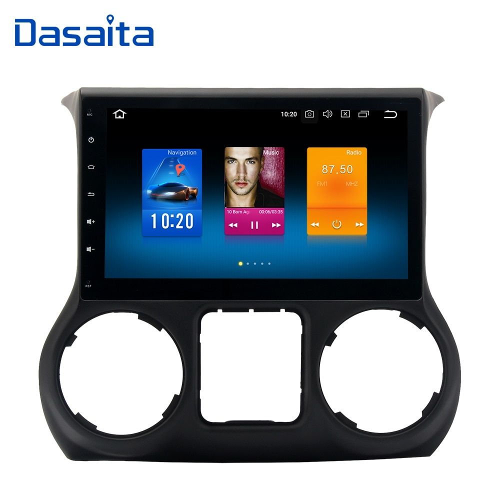 Dasaita 10.2 Android 8.0 Car GPS Radio Player for Jeep Wrangler 2015 2016with Octa Core 4GB+32GB Auto Stereo Multimedia