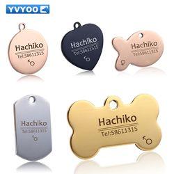 YVYOO grabado libre mascotas accesorios collar decoración Pet ID etiquetas de perro collares de acero inoxidable gato etiqueta personalizada