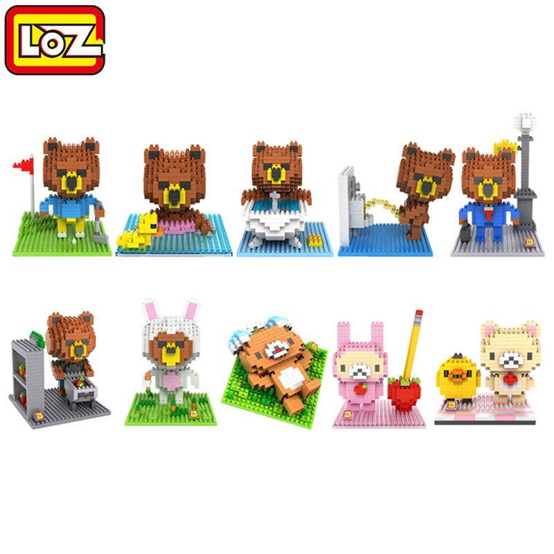 Loz blocs de construction mignon dessin animé ligne ours brun diamant nano blocs en plastique jouet briques enfants jouets cadeau éducatif