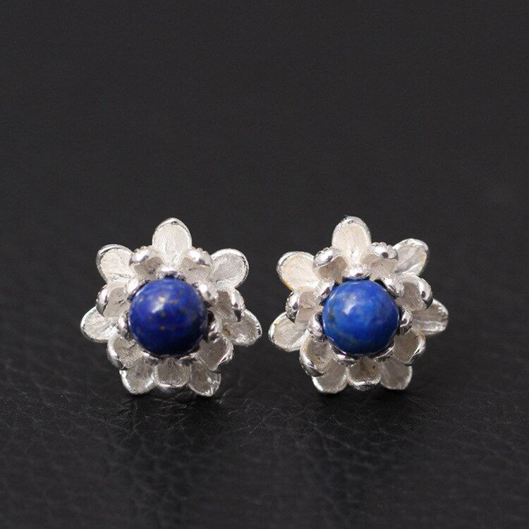925 Sterling Argent Lapis Lazuli Lotus Fleurs Boucles D'oreilles Pour Les Femmes Élégante Dame Empêchent Allergie Sterling-argent-bijoux