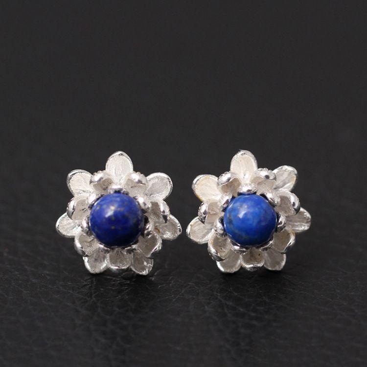 Boucles d'oreilles en argent Sterling 925 avec fleurs de Lotus Lapis Lazuli pour femmes, élégantes, pour femmes, pour prévenir les allergies, en argent Sterling, bijoux
