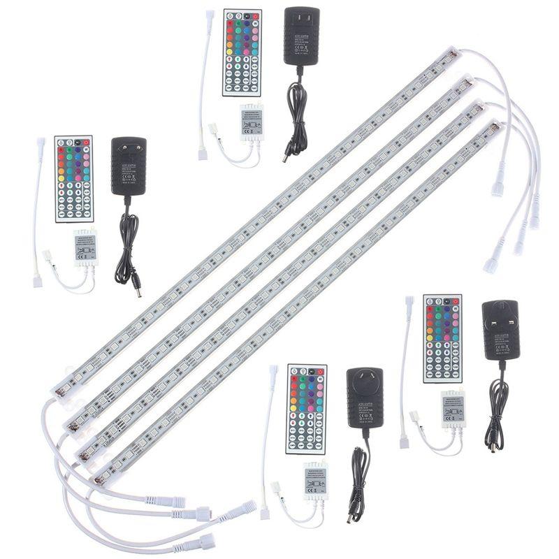 4Pcs 50cm Rigid RGB LED Strip Light 5050 SMD Waterproof IP65 Fish Tank Aquarium Lamp TV Background AU/UK/EU/US Plug