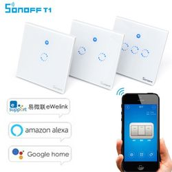 Sonoff T1 UK / EU WiFi RF / APP / Touch Control Wall Light Switch 1 /2 /3 Gang 86 Type Panel Wall Touch Light Switch Smart Home