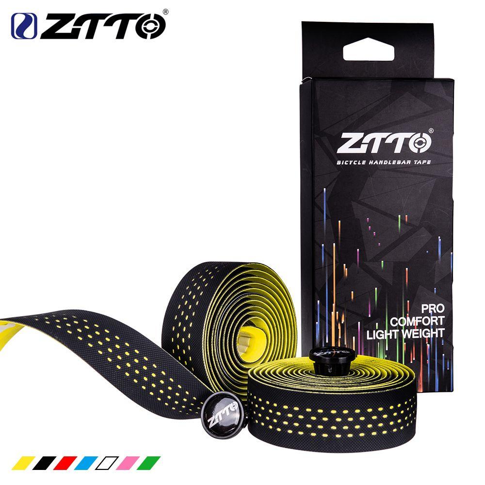 ZTTO souple vélo de route vélo guidon liège EVA PU barre bande professionnelle cyclisme amortissement Anti-Vibration Wrap avec 2 Bar Plug