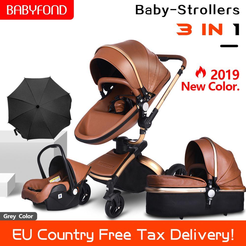 2019 neue set PU Leder gold rahmen weiß baby kinderwagen 360 360-grad-drehung hohe landschaft 3in1 kinderwagen SUV suspension 6 geschenke