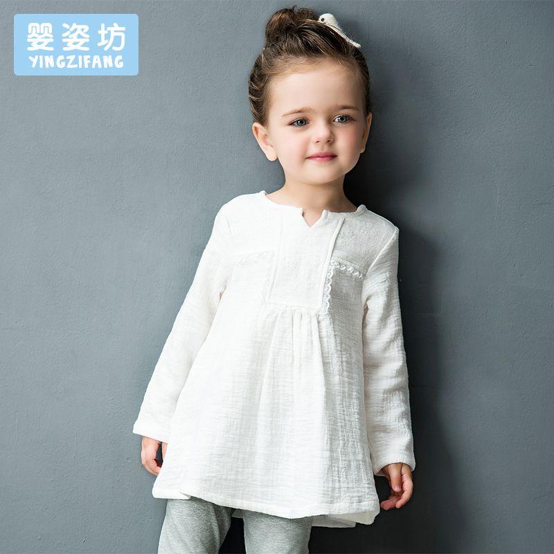 Yingzifang Automne Fille robe À Manches Longues Col V Casual Dentelle coton Lin tulle Robes robes de soirée pour les Filles bébé vêtements