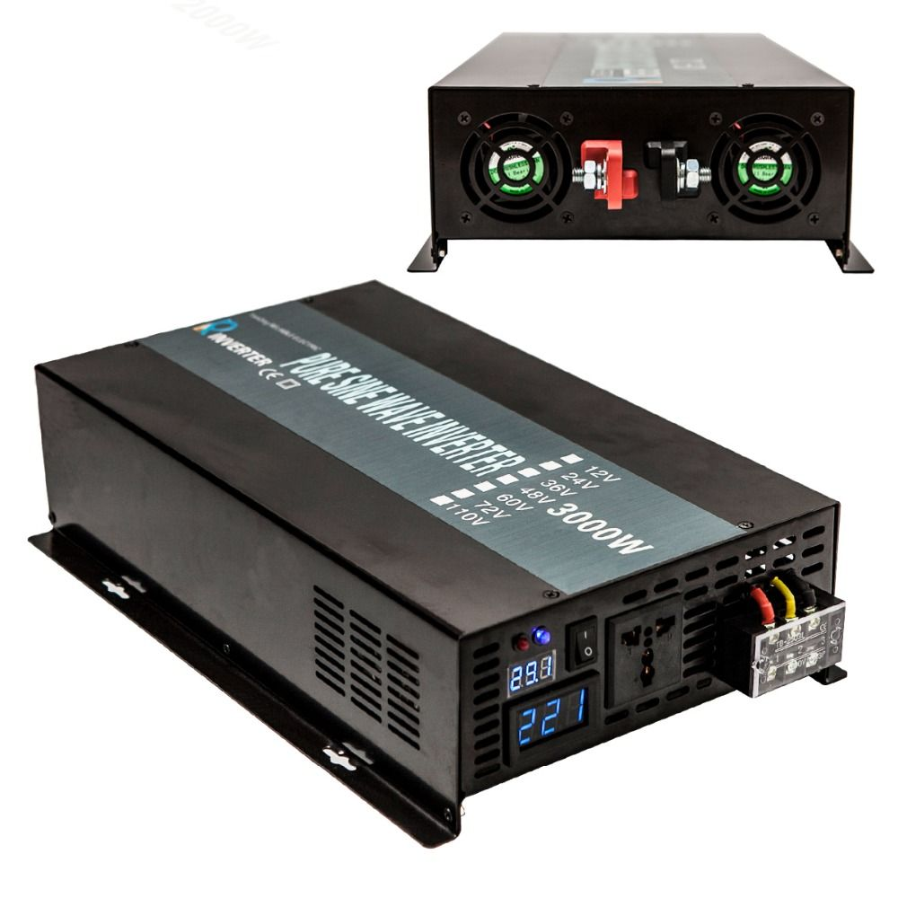 3000W Pure Sine Wave Solar Inverter 12V 220V Power Inverters Converters Battery Pack Power Supply 12V/24 DC to 120V/220V/240V AC