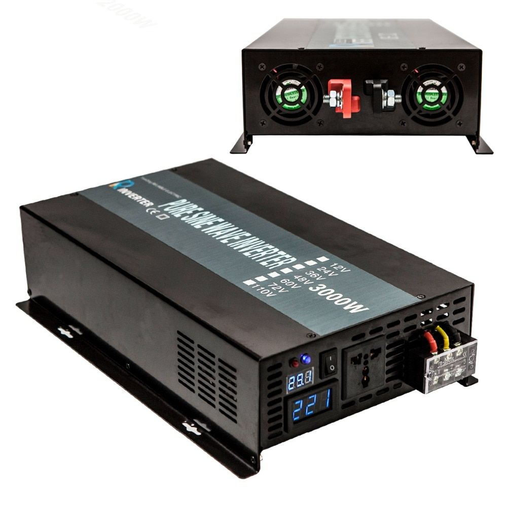 Pure Sine Wave Solar Inverter 3000W 12V 220V Power Inverters Converters Battery Pack Power Supply 12V/24 DC to 120V/220V/240V AC