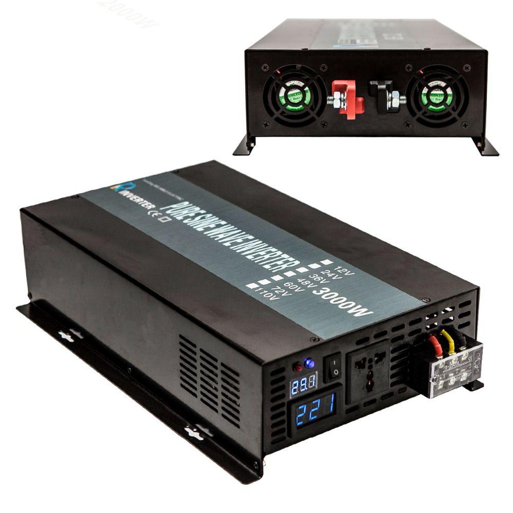 Solar Power Inverter 3000W 24V 120V Pure Sine Wave Inverter Battery Pack Converter 12V 24V DC to 120V 220V 230V AC Power Supply