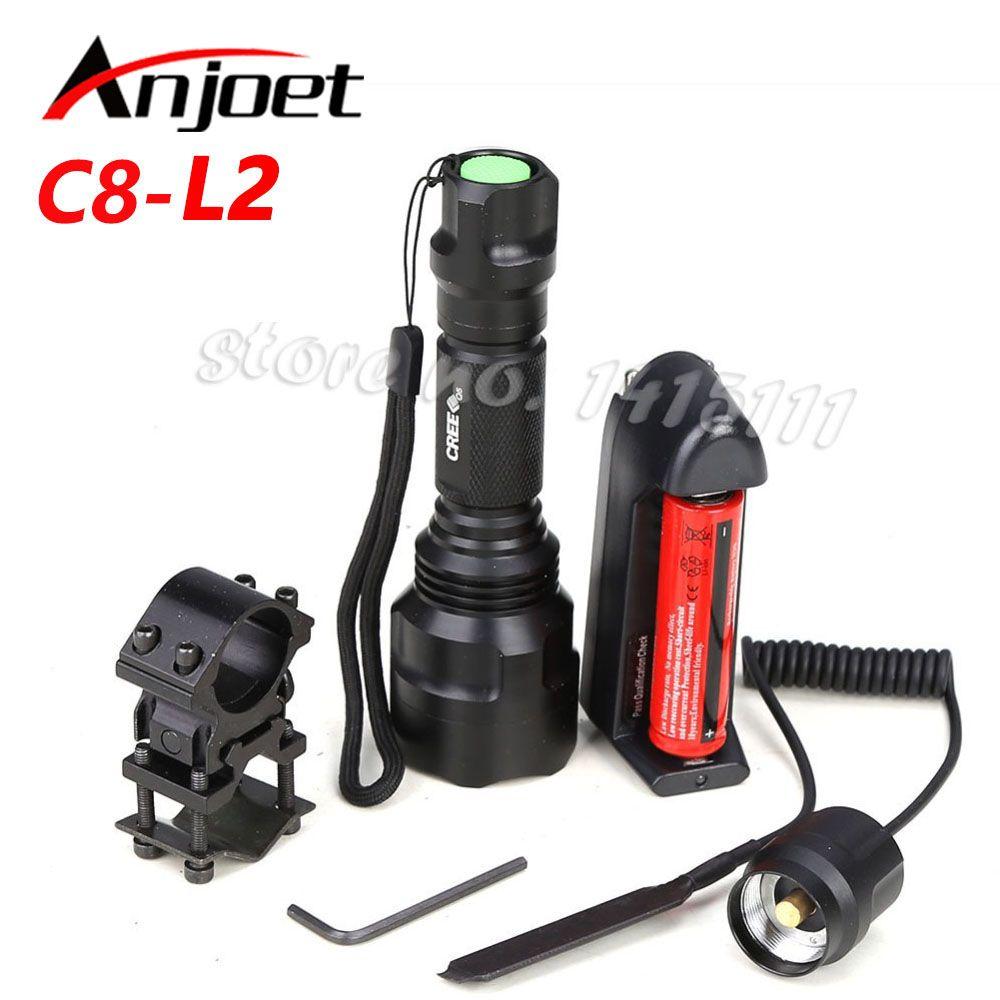 C8 lampe de poche tactique lumière de chasse CREE XM-L2 LED 1/5 mode torche lampe de poche étanche LED 18650 batterie + chargeur + support de pistolet