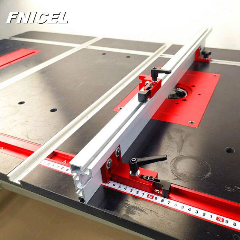 600mm/800mm Aluminium profil clôture 75mm hauteur avec t-pistes et supports coulissants Miter jauge clôture connecteur pour le travail du bois