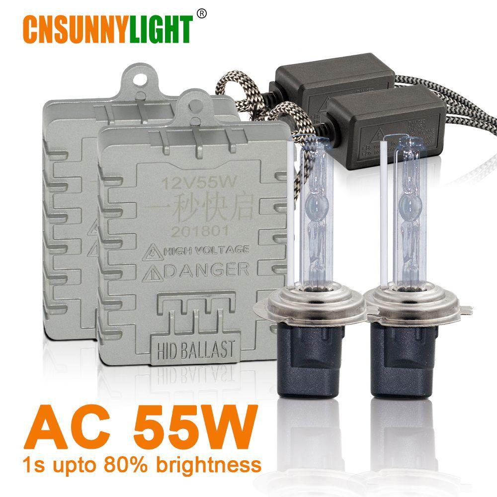 CNSUNNYLIGHT 1s Fast Bright 55W HID Xenon Headlight H7 H1 H3 H11 H8 HB3 HB4 9005 9006 881 H27 4300K 6000K 8000K Fog Lamp