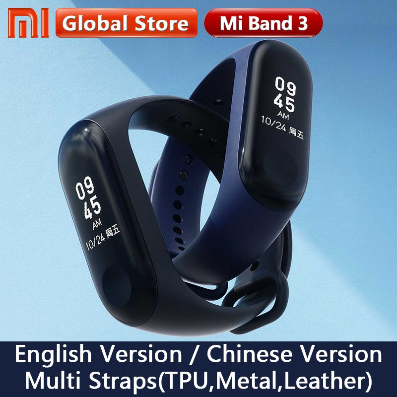 Original Xiaomi Mi Band 3 Global Version Smart Bracelet Multi Language Miband 3 OLED Touch Screen Mi band3 Fitness Bracele