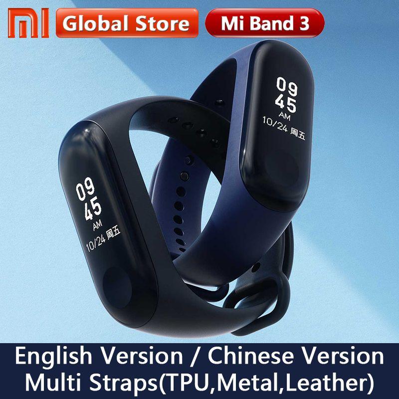 Origine Xiao mi mi Bande 3 Mondial Version Smart Bracelet Multi Langue mi bande 3 OLED Écran Tactile mi band3 fitness Bracele