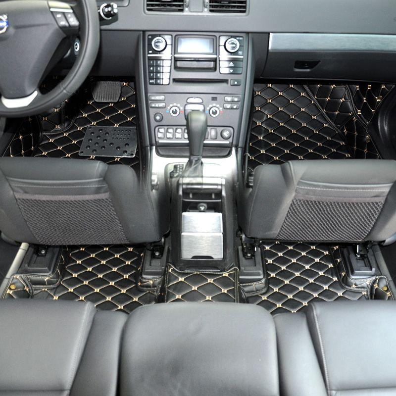 custom fit fiber leather car floor mat carpet rug for volvo xc90 2002-2014 2007 2008 2009 2010 2011 2012 2013 2006 7 seats