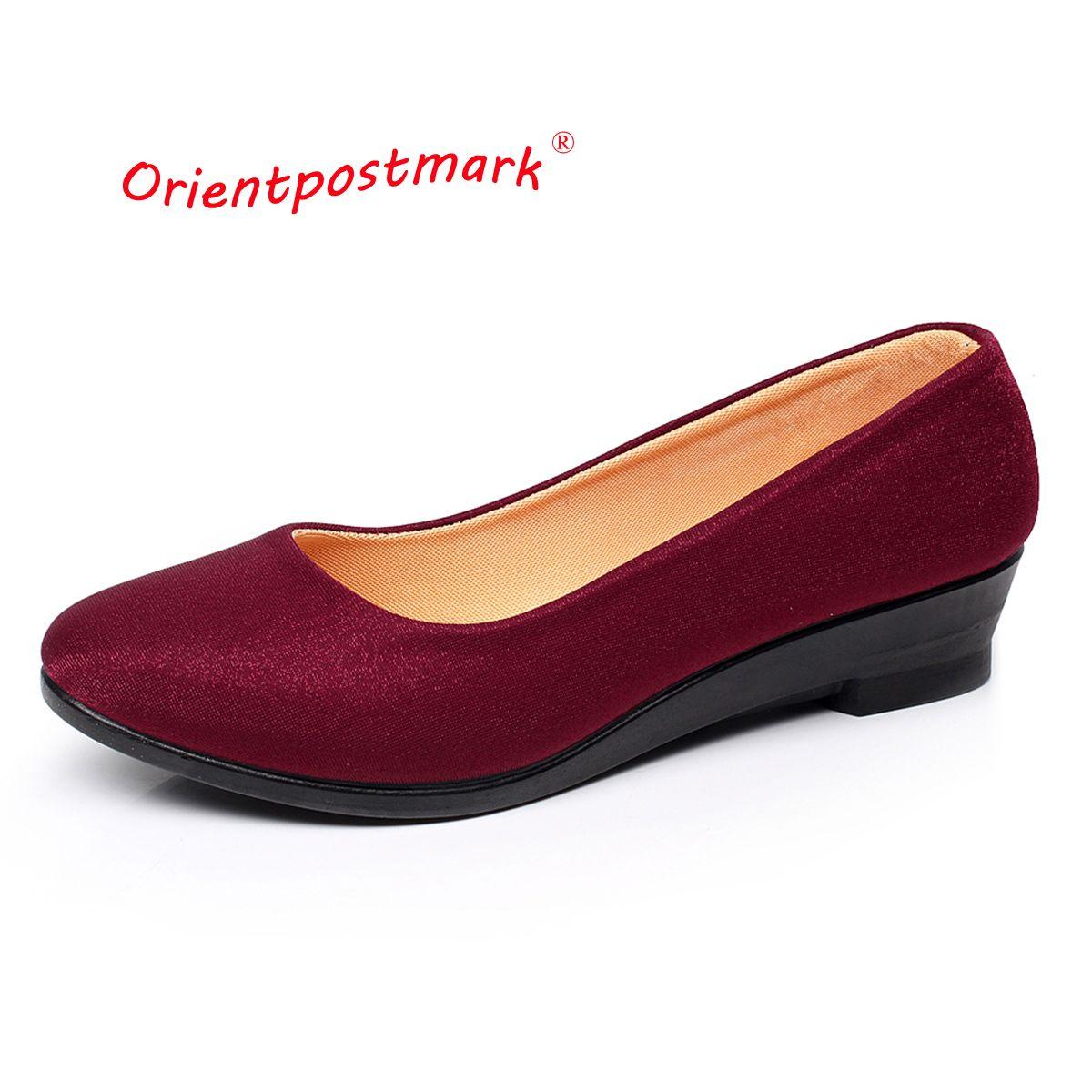Las mujeres Zapatos de Ballet de Las Mujeres Zapatos de las Cuñas de Trabajo de Tela Dulce Mocasines Se Deslizan En Las Mujeres Embarazadas Zapatos de Las Cuñas de Gran Tamaño del Barco zapatos