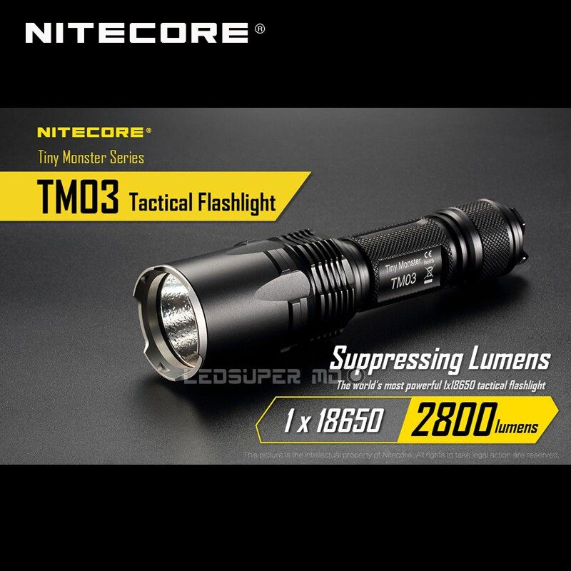 Tiny Monster Series Nitecore TM03 CREE XHP70 LED Tactical Powerful Flashlight 2800 Lumens with Free 18650 Battery