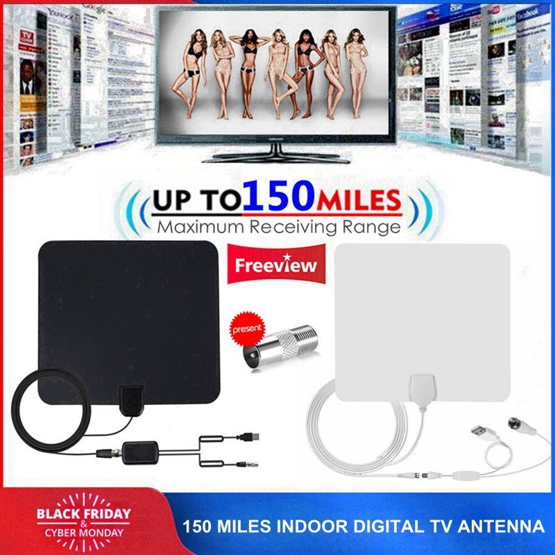 150 Miles Intérieure DTV Numérique TV Antenne POUR TVHD HD Câble TV Antena avec Signal Amplificateur Booster DVB-T/T2 UHF VHF Antennes