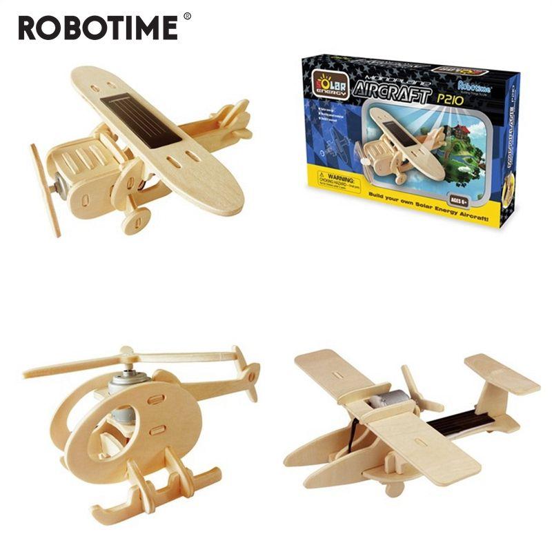 Robotime 5 Kinds Diy Solar Energy Powered Toy Plane 3D Wooden Assembled Model Building Toys Gift for Children Adult P250