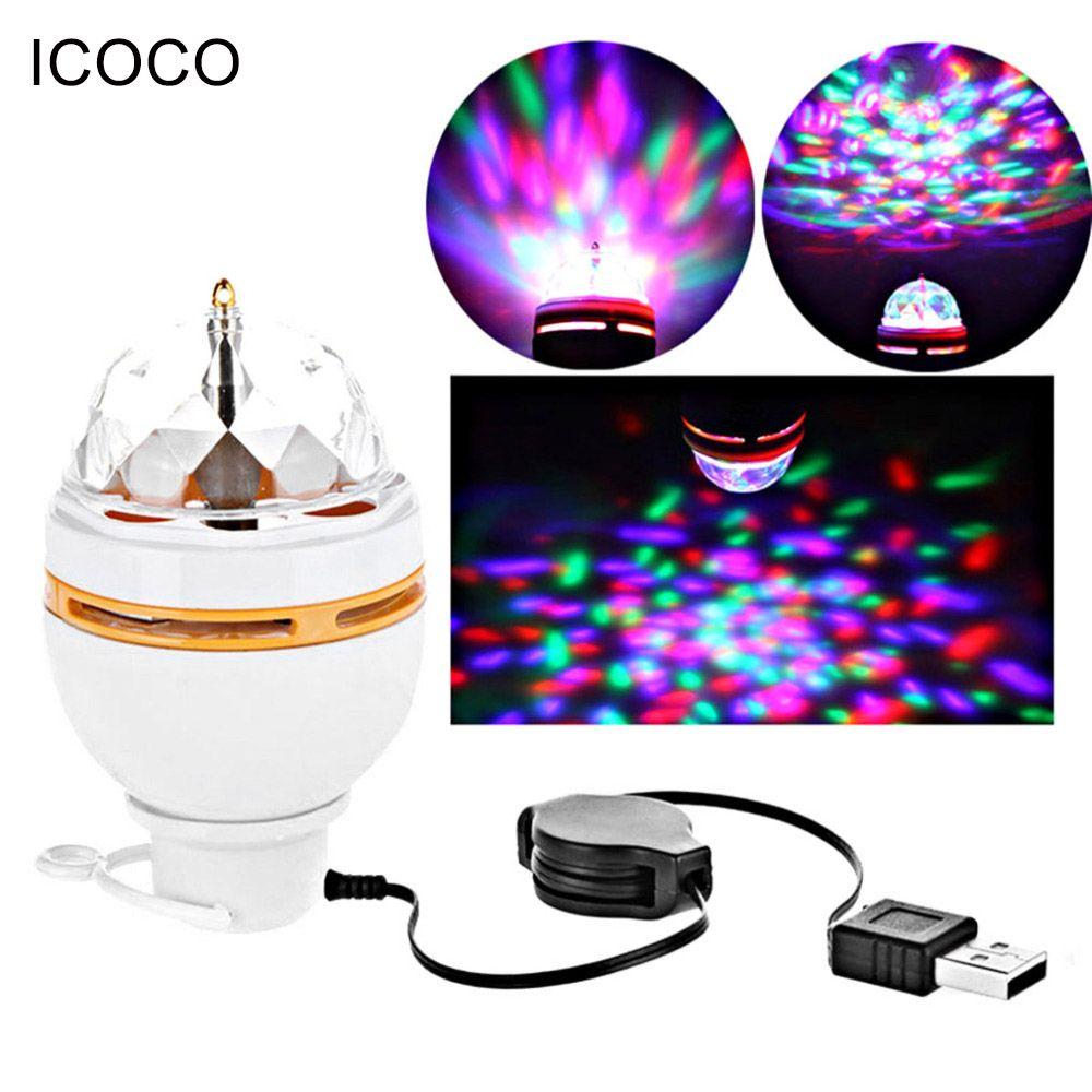 ICOCO RGB LED Lampe Bühnenbeleuchtung Magic Ball 5 V DJ Party Club Weiß Auto Rotierenden Nachtlichter Usb-schnittstelle Für Neue jahr
