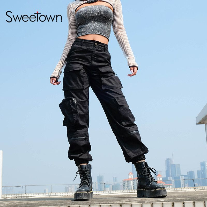 Sweetown Black Cargo Pants Women Fashion 2019 Pockets Patchwork Hippie Trousers Fake Zipper Woven High Waist Streetwear Pants